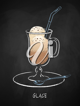 Glace coffee cup isolated on black chalkboard background. Vector chalk drawn sideview grunge illustration.