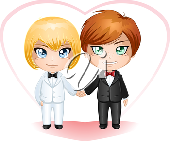 Royalty Free Clipart Image of a Same Sex Marriage