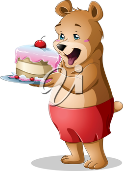 Royalty Free Clipart Image of a Hungry Brown Bear