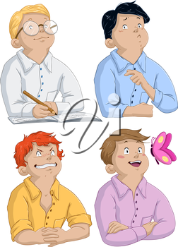 Vector illustration of four boys asking questions for passover.