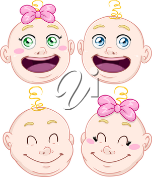 Vector illustration pack of baby boy and girl heads.
