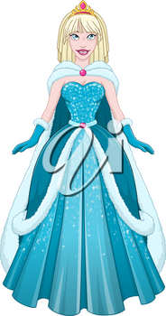 Vector illustration of a snow princess queen in blue dress and cloak.