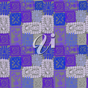 Vector graphic, artistic, stylized image of tracery seamless pattern, crochet