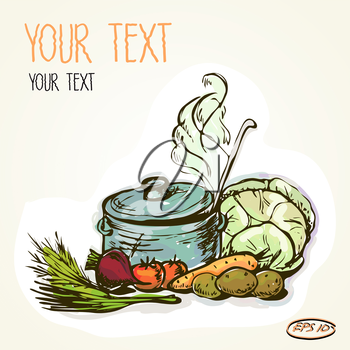 Vector graphic, artistic, stylized  image of a pot of hot soup and vegetables, ingredients for cooking