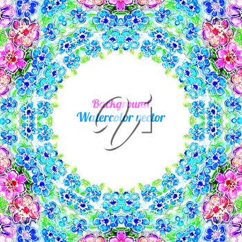 Romantic watercolor card with  Flowers. Decor design greeting cards, wedding invitations, marriage, bridal, birthday. Vector illustration. Circular pattern
