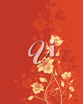 Grunge background with flowers and blobs. There is place for text.