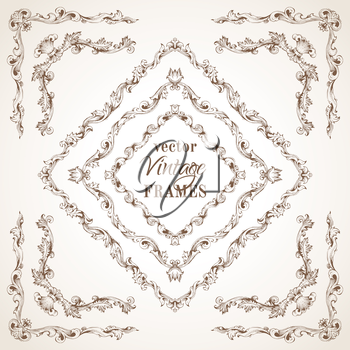 Retro hand-drawn frames and page decorations with retro ornament. There is place for your text in the center.