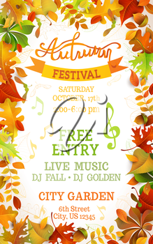 Bright colourful autumn leaves on vertical white background. You can place your text in the center.