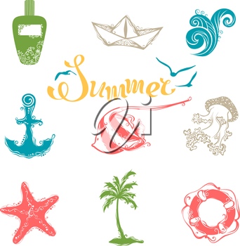Vintage icons for your tropical design isolated on white background.