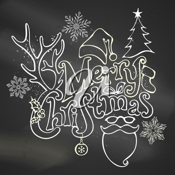 Christmas ball, hand-written text, holly berry, fir, antlers of a deer, bow, Santa sock, Santa hat, Santa beard and glasses. Chalk outlined objects on blackboard background.