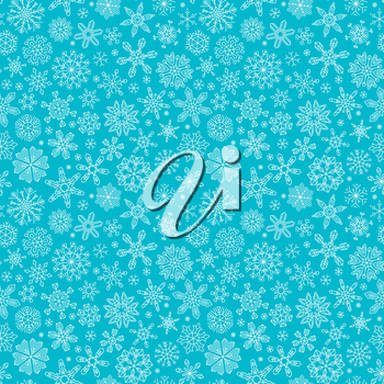 Linear snowflakes on blue background. Boundless texture can be used for web page backgrounds, wallpapers, wrapping papers, invitation, congratulations and festive designs.