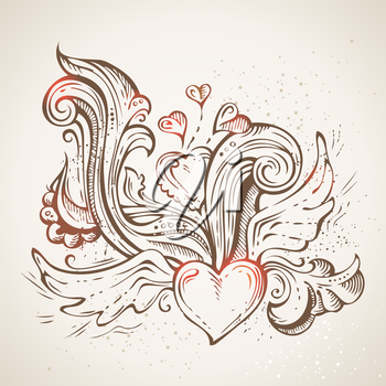 Ornate pencil flourishes on old paper background. Valentine's or wedding template.