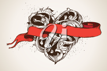 Vector illustration. Valentine's or wedding illustration. There is place for your text on ribbon.