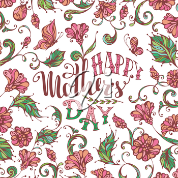 Hand-drawn floral greeting card. Vector typographical background with spring flowers and butterflies. Pastel pink and green background.
