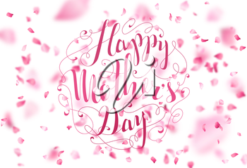 Hand-written lettering. Vector cherry petals fall down. A lot of pink petals on white background. Nature horizontal backdrop.