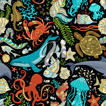 Colorful octopus, whale, dolphin, turtle, fish, starfish, crab, shell, jellyfish, seahorse, algae on black background. Underwater ocean animals and plants.