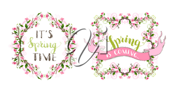 Ornaments and flourishes, pink cherry blossoms and green leaves on tree branches. Hand-written lettering. Seasonal page decorations isolated on white background.