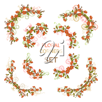 Red blossoms and green leaves on tree branches. Hand-drawn flourishes. Isolated on white background.