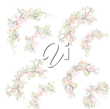Vector outlined spring flowers, leaves and flourishes on branches. Coloured hand-drawn ornaments.