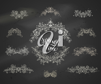 Hand-drawn ornament of flowers, leaves and flourishes on tree branches on blackboard background.