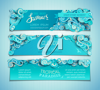 Hand-drawn ornate clouds, curls, swirls and spirals. There is copy space for your text on blue background. Summer web templates.