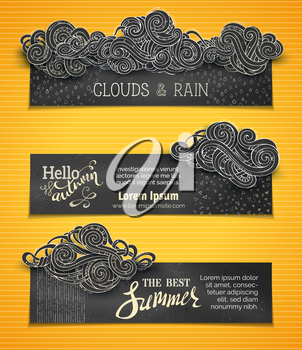 Hand-drawn ornate clouds, rain, curls, swirls and spirals. There is copy space for your text on blackboard background.