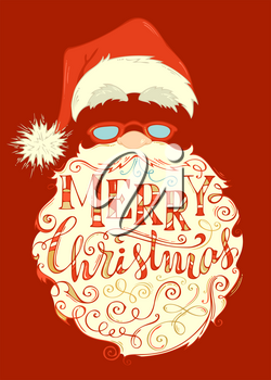 Santa Claus face, hat with pompon, glasses and light curly beard. Hand-drawn swirls and letters.