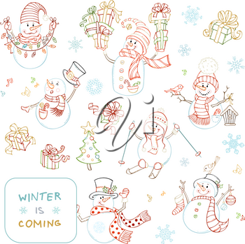 Snowmen with ski, candy, gifts, baubles, garland, bird and birdhouse. Christmas tree, music notes, snowflakes and music notes. Colourful linear illustrations.