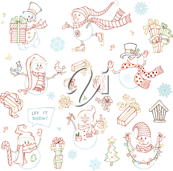 Snowmen with skate, candy cane, gifts, garland, and birds. Christmas tree, music notes, birdhouse, snowflakes and music notes. Colourful outlined illustrations.