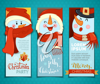 Cartoon snowmen with hats and scarves. Christmas gift box. There is copy space for your text.