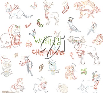 Vector set of forest animals dressed in Santa hat and winter scarf. Coloured contours of moose, bear, fox, wolf, deer, owl, hare, squirrel, raccoon, hedgehog and birds.