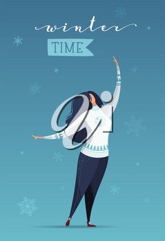 Winter time. Vector holiday card template.