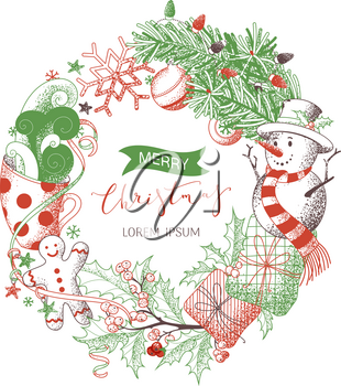 Colored sketch of snowman, gingerbread man, mistletoe, gifts, cup of cocoa, spruce branches with baubles. Happy holidays red and green design. Hand-drawn stipple texture.