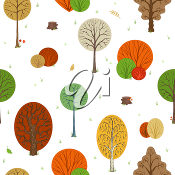 Colored autumn trees, bushes and stumps. Autumn leaves, grass, seeds and mushrooms on white background. Cartoon boundless background.