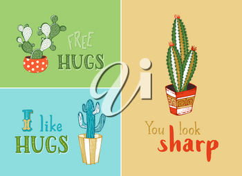 Hand-drawn design elements for greeting card or poster. Cactus and succulent plants in flower pots. Free hugs. I like hugs. You look sharp.