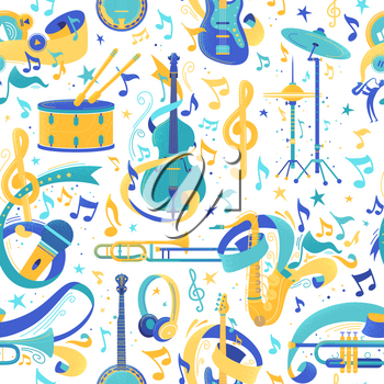 Musical instruments flat vector seamless pattern. Cartoon cello, microphone, headphones, banjo texture. Brass, percussion, string instruments. Musical festival, concert wrapping paper, textile design