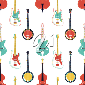 Strumming music instruments vector seamless pattern. Electric guitar, banjo, cello texture. String instruments wallpaper. Classical orchestra performance, rock concert, music festival background