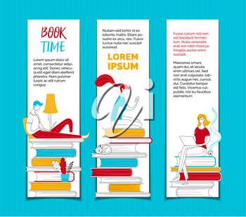 People reading ebooks bookmarks templates set. Digital library archive, ereading creative web banners pack with text space. Readers sitting on books stacks outline vector characters