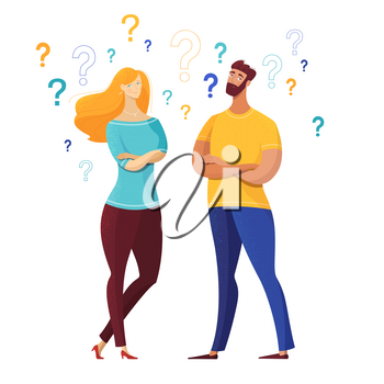 Couple with question marks vector illustration. Cartoon man, woman having secrets isolated characters. Confused friends, husband, wife asking questions, finding answers, solutions to problems