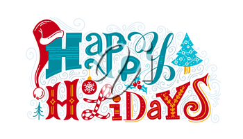 Happy holidays vector color lettering. Creative typography with winter festive doodles. New Year greeting card, banner, poster design with congratulation phrase. Christmas wishes isolated clipart