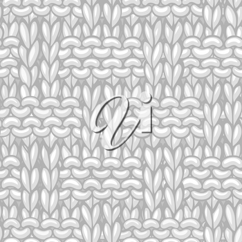 White Braided Knitting Pattern. Hand-drawn cotton cloth background. High detailed wool hand-knitted fabric material.