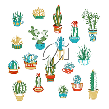 Various cacti in flower pots and cups. With spines, flowers and without. Hand-drawn design elements for poster, greeting card or invitation.