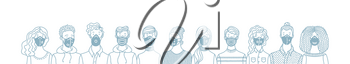 Group of people wearing safety breathing masks. Respirators and medical masks. Protection from disease, flu, coronavirus COVID-19, air pollution, allergies, dust. Vector outline banner concept.