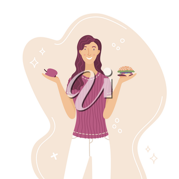 Young woman choosing between apple and burger vector cartoon vector illustration. Fresh fruit vs fast food. Smiling girl comparing diet and healthy eating or junk fast food flat concept.