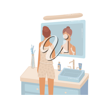 Young woman looking at bathroom mirror moisturizing to protects her skin. Cute girl wearing pajama and applying cream. Flat isometric style. Daily beauty and skincare routine. Cartoon vector