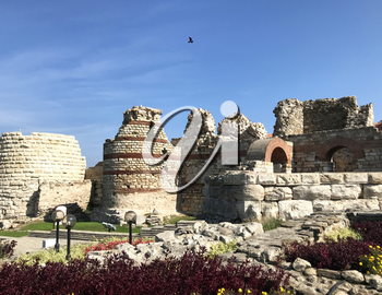 Nesebar, Bulgaria - October 06, 2017: Western Fortress Wall in the UNESCO world heritage town.