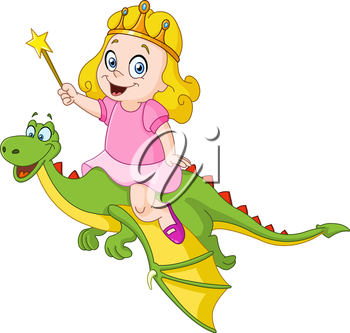 Young princess riding a dragon