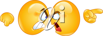 Two angry emoticons arguing with forehead against other