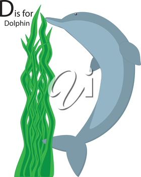 Royalty Free Clipart Image of a dolphin forming the letter 'D' with seaweed