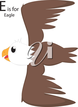 Royalty Free Clipart Image of an Eagle making the letter 'E' while flying